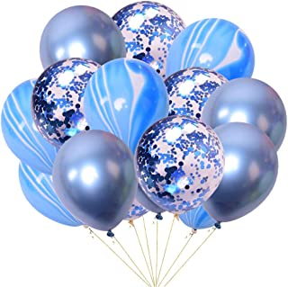 30PCS Blue Party Balloons 12 Inch Metallic Blue Marble Confetti Balloon Bouquets for Blue Boy Baby Shower 1st 2nd 3rd Birthday Gender Reveal Bachelor Party Nursery Decoration