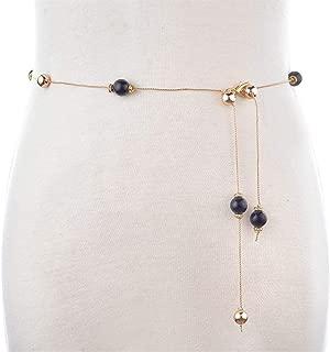 MYCHOMEUU New fine Beaded Waist Chain Ladies Skirt Decorative Belt Gold Chain Fashion Rhinestone Inlay fine (Color : Black, Size : 105cm)