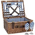 INNO STAGE Wicker Picnic Basket Set for 2, Willow Hamper Service Gift Set for Camping and Outdoor Party