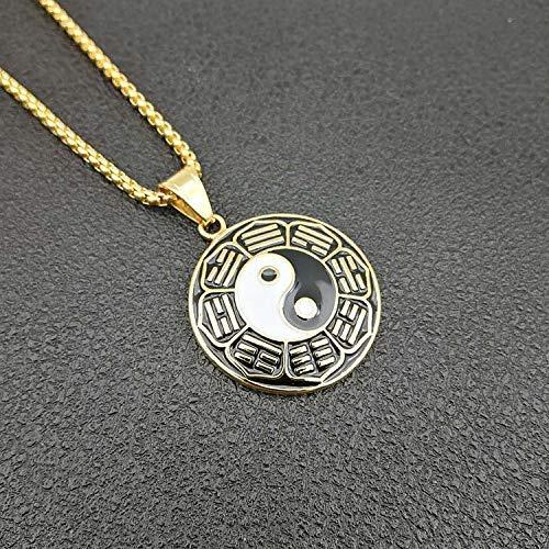 NA Nuevos Colgantes y Collares para Hombres/Mujeres El Maestro del Tai Chi Diagrama del Universo Joyas de Tao¨ªsmo de Acero Inoxidable de Color Dorado