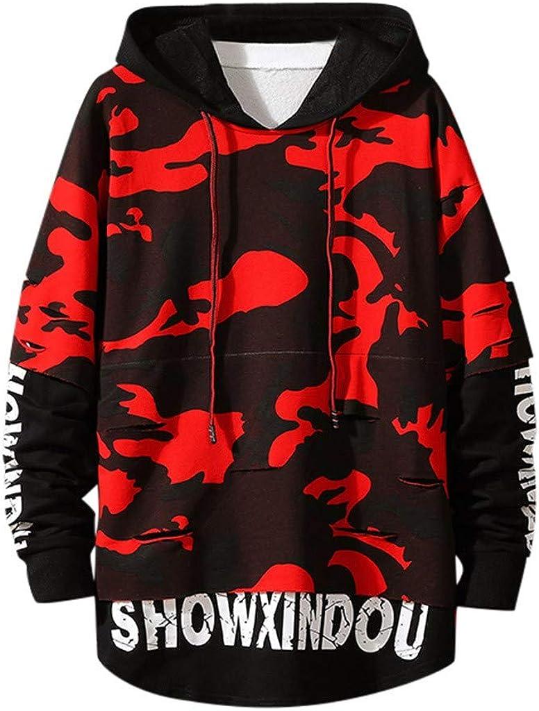 ZSBAYU Men's Fashion Casual Camo Hoodies Pullover Hip Hop Stylish Big and Tall Sweatshirts with Hood