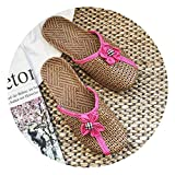 QfireQ Sandalias Plataforma para Mujer Antideslizantes Zapatillas Interior Piso Madera para El Hogar Alfombras Paja Zapatillas Interior Zapatillas de Paja Ratán Bambú,Rosado,37/38