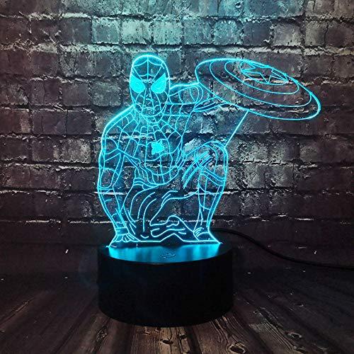 Led 7 Kleur Afstandsbediening Bureau Lamp Marvel Movie Avengers Spiderman Captain Amerika Shield Decoratie Kamer Lamp Gift