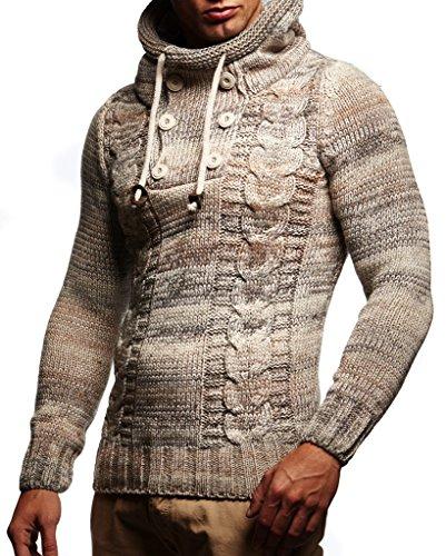 Leif Nelson Herren Strick-Pullover Strick-Pulli mit Kapuze Moderner Winter Woll-Pullover Langarm-Sweatshirt Slim Fit LN20227 Beige Large