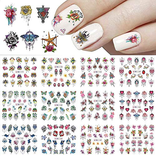 Nail Art Stickers Decals Nail Decorations Association Nail for Women Girls Mixed Design Nail Stickers Jewelry Flower Leaf Animals Water Transfer Decals Tattoo Nail Art Manicure Tips 12 Sheets