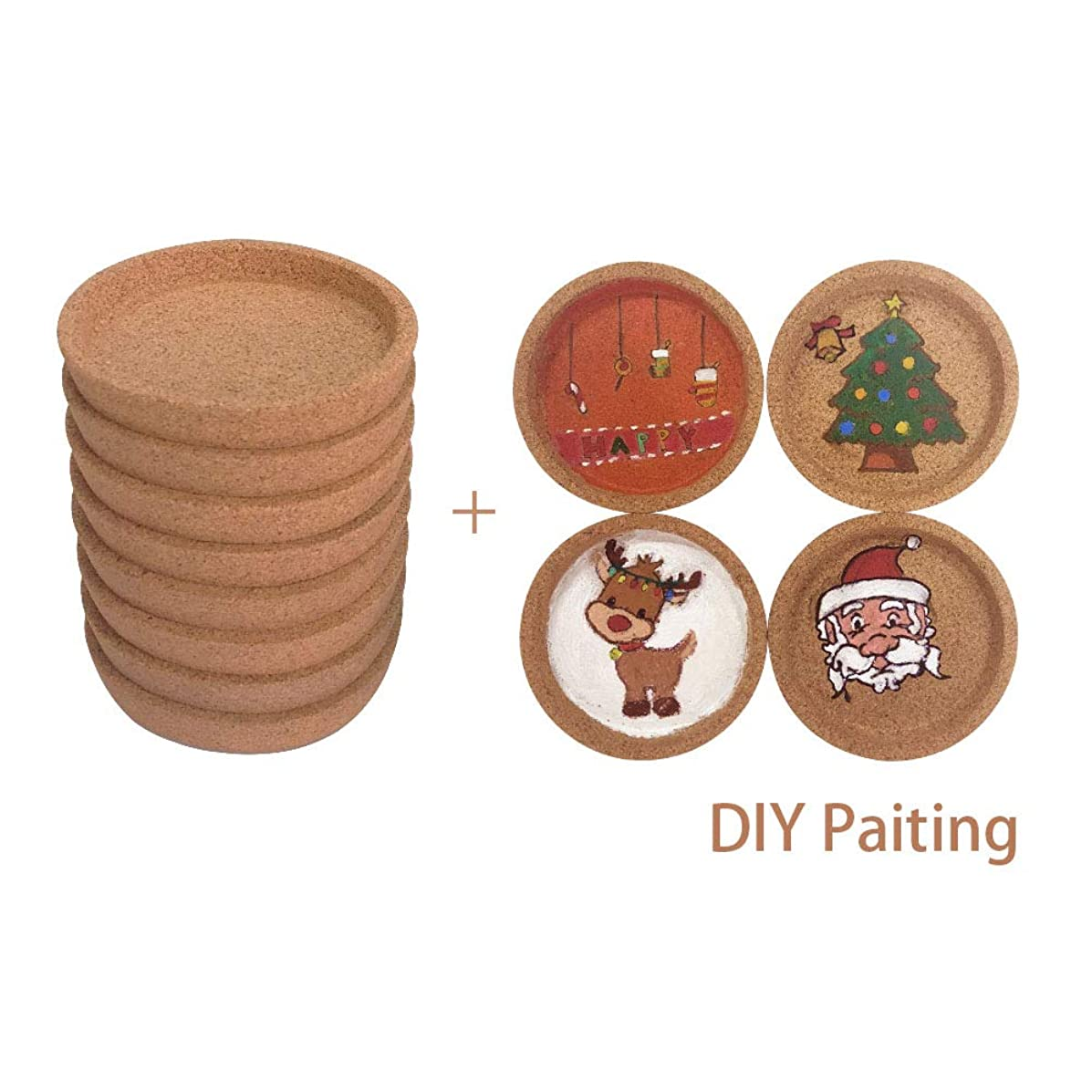Buy 8 PCS Get 12 PCS-BOEISEN Cork Coasters For Drinks Absorbent Cup Mat With Round Ring, Set of 8,Dia 3.9 inch