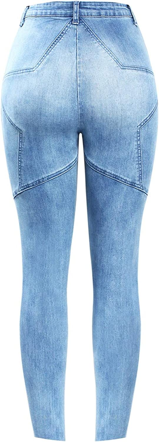 Woman High Waist Patchwork Jeans Stretchy Denim Pencil Skinny Pants Plus Size Trousers