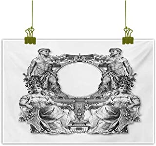 Modern Frameless Painting Old Victorian Frame Two Man and Two Woman Ancient Baroque Crown Princess Art Black White Home and Everything 35