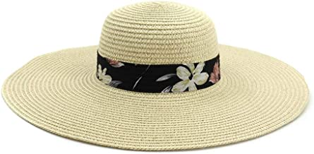 2019 Women Womens Straw Hat Summer Sun Hat for Women Satin Hat Travel Beach Hat Fashion Women Cute Solid Color Chapeu Feminino Striped Floral As A Sign Cool (Color : Khaki, Size : 56-58CM)