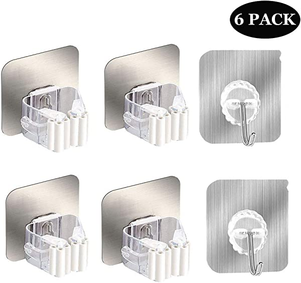 扫把拖把架壁挂式扫把夹子固定架自粘挂钩可重复使用无钻超防滑壁挂式收纳架收纳整理你家厨房 6 个装银色白色