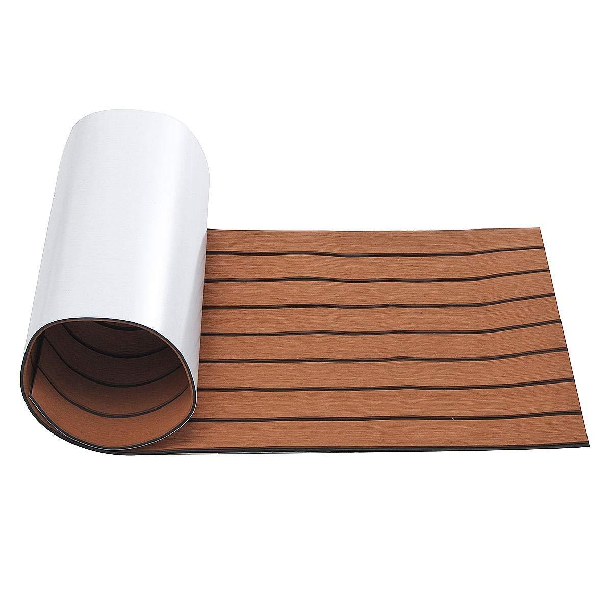 Piso Del Barco Barco Mat autoadhesivo Plataforma Yate Hoja de escalera Alfombra Marina piso de EVA espuma de color marrón imitación de teca (tamaño : L): Amazon.es: Bricolaje y herramientas