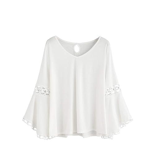 734fa2db7c2b91 MAKEMECHIC Women s Bell Sleeve V Neck Contrast Crochet Lace Tee Shirt  Blouse Top