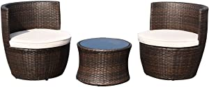 FDInspiration 3Pcs Brown Stackable Patio Rattan Chair Round Coffee Table Outdoor Furniture Set w/Off White Cushion with Ebook