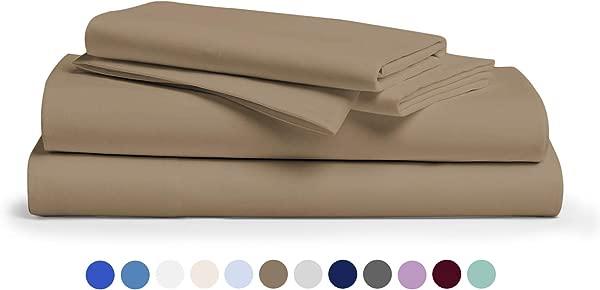 600 线数 100 棉床单灰褐色女王床单套装 4 件长绒布精梳纯棉最佳床单适合床透气柔软丝滑棉缎编织适合床垫高达 18 个深口袋