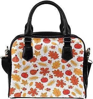 Thanksgiving Autumn Turkey Owls Women's PU Leather Purse Handbag Shoulder Bag