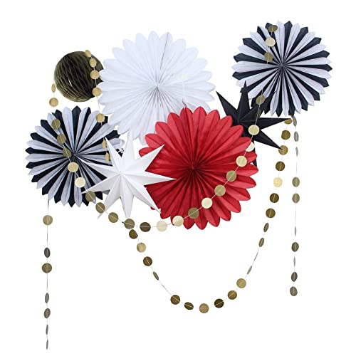 SUNBEAUTY Black Red White Tissue Paper Fans Gold Twinkle Star Garlands Christmas Decorations Kit