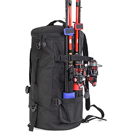 LATOO釣り バッグ 防水生地 アウトドアバッグ サイクリングバッグ 釣り竿収納バッグ タックルバッグ ロッドホルダー 30L大容量釣り用品バッグ