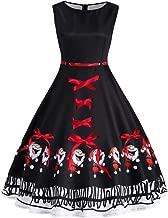 Joopee Women Vintage Oversize O-Neck Sleeveless Santa Claus Print Bow Zipper Christmas Dress