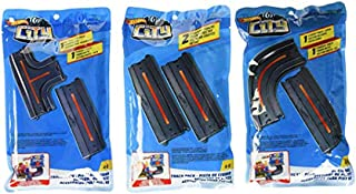 Hot Wheels City Track Pack Accessory, Straight + Straight + Intersection + Curved, GBK38, FXM39, FXM40
