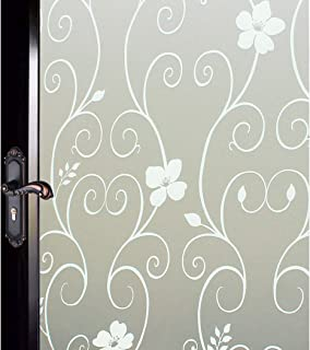 DUOFIRE Window Film White Flower Pattern Privacy Window Film Frosted Glass Film Static Cling Glass Film No Glue Anti-UV Window Sticker For Bathroom Bedroom Living Room 35.4in. x 78.7in. DP014W