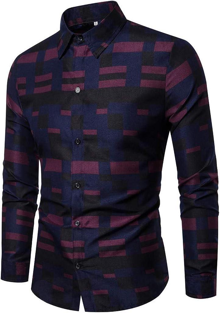 MODOQO Men's Striped Business Leisure Retro Long-Sleeved Shirt Top Blouse