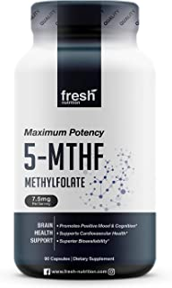 L Methylfolate 7.5mg – DNA Verified for Maximum Potency – Superior Bioavailability – 5-MTHF Methyl Folate for Mood, Cognition, Immunity, Cardiovascular, Neurological, Reproductive, Detoxification (90)