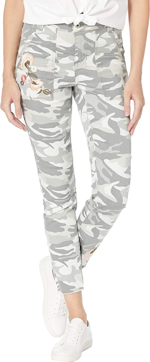 Tribal Womens Printed Stretch Twill Leggings w Patch Pocket & Embroidered Detail