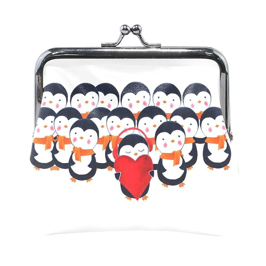 露プランテーションつま先GORIRA(ゴリラ) かわいい ペンギン 超繊レザー&木綿 人気財布 ブランド がま口式小銭入れ ミニがま口