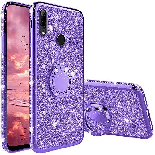 XTCASE Cover Glitter per Huawei P Smart 2019 / Honor 10 Lite, Custodia Brillantini Diamanti con Supporto Girevole a 360 Gradi, Ultra Sottile Morbid TPU Silicone Antiurto Protettiva Case, Viola