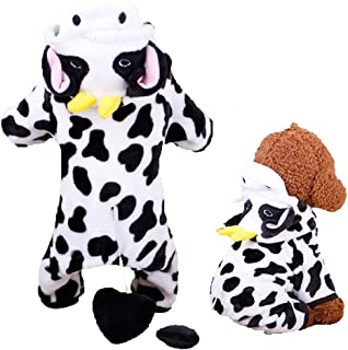 Unisex Pet Dog Winter Clothes Cow Cosplay Costume Hooded Coat Puppy Dog Warm Hooded Halloween Christmas Party Sweater Jumpsuits Apparel Jackets Cute Cow Hoodie Fleece Warm Coat for Small Dog Cat
