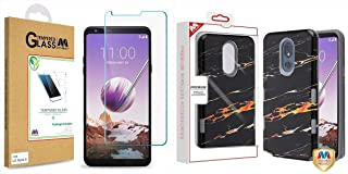 Combo Pack Tempered Glass Screen Protector (2.5D) for LG Stylo 5 and Supreme Black Gold Flower Marble/Iron Gray TUFF Subs Hybrid Case (with Package) for LG Stylo 5