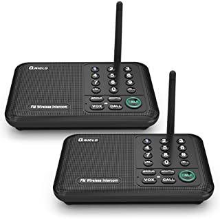 Qniglo Wireless Intercom System 10 Channel 1/2 Mile Long Range FM Intercoms Wireless for Home and Office (2 Stations Blac...