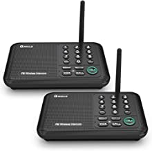 Qniglo Wireless Intercom System 10 Channel 1/2 Mile Long Range FM Wireless Intercoms for Home, Office, Business (2 Stations, Black)