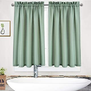 NANAN White Curtains 45 inch Long Casual Weave Small Window Curtain Kitchen Bathroom Basement Bedroom Drapes - 30
