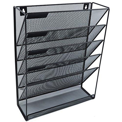 Easepres File Organizer Mesh 5-Tier Black Hanging File Organizer Vertical Holder Rack for Office Home