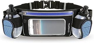 Hydration Running Belt with 2 BPA-Free Water Bottles Touchscreen Zipper Pockets and Adjustable Straps Fit All Smartphones Holder Waist Belt for Outdoor Sport Marathon Running Cycling Jogging