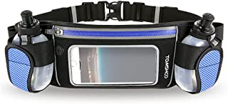 TOMSHOO Hydration Running Belt with 2 BPA-Free Water Bottles Touchscreen Zipper Pockets and Adjustable Straps Fit All Smartphones Holder Waist Belt for Outdoor Sport Marathon Running Cycling Jogging