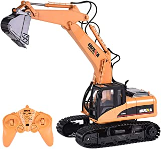 ErYao HuiNa Toys 1550 Remote Control Excavator Toy for Boys 1/14 2.4G 15CH Alloy Excavator Engineering Vehicle RC Car Rechargeable Battery Electric Construction Car, Shipped from US