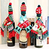 Christmas Wine Bottle Covers Wine Bottle Scarf Bags Holiday Dining Room Decorations Festive Decor for Kitchen, Pack of 3