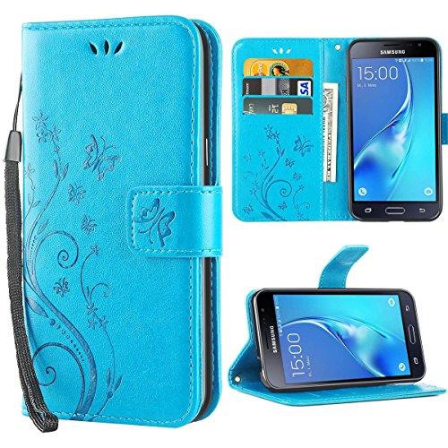 iDoer für Galaxy J3 Hülle,Solide Butterfly PU Leder Case Tasche Hülle Schutzhülle Flip Case Magnetverschluss Handyhülle im Wallet für Samsung Galaxy J3 2016/2015 5.0 Zoll - Blau