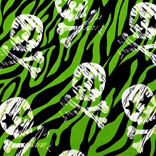 MAGAM-Stoffe Rockstar Skulls Totenköpfe Jersey Kinder Stoff Oeko-Tex Meterware 50cm (Grün)