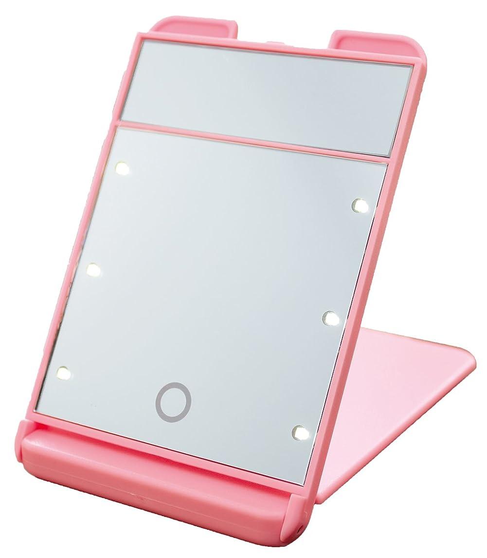嫉妬先行するファントム3倍拡大鏡付 LED コンパクト ブライトニングミラー タッチミニ YLD-1600 ピンク