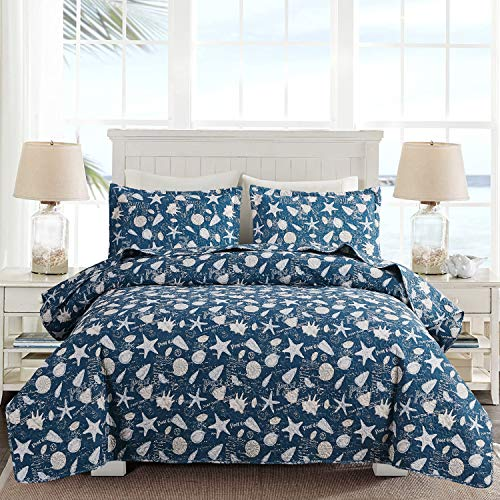 Ocean Quilt Set Full/Queen Size Coastal Beach Theme Bedding Lightweight Soft Starfish Seashell Conch Bedspread Coverlet Blue Bed Cover with 2 Pillow Shams