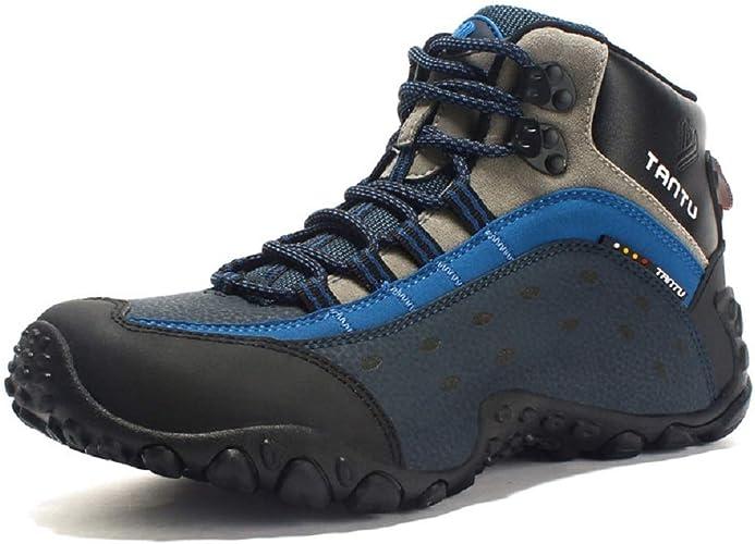 Fuxitoggo Sports de Plein air pour Hommes, Chaussures de randonnée, Cuir antidérapant, Chaussures en Cuir Mat, Plateforme (Couleuré   Bleu, Taille   EU 41)