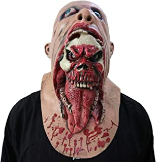 XILALU Creepy Zombie Latex Full Head Mask, Halloween Bloody Biochemical Melting Face Costume Party Props Walking Dead