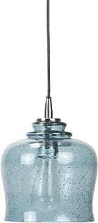 Foreside Home and Garden Glass Marina Pendant Light, Blue