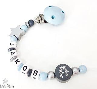 Schnullerkette mit Namen Hippo Lokomotive Junge grau lemon blau Baby