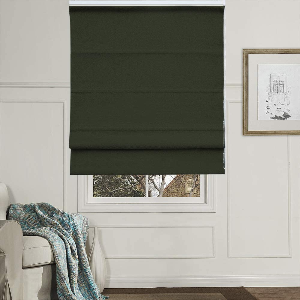 Artdix Roman Shades Blinds Window Shades - Green 44.5 W x 36 H Inches (1 Piece) Blackout Solid Thermal Fabric Custom Made Roman Shades for Windows, Doors, Home, Kitchen, Living Room: Home & Kitchen