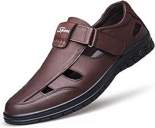 Las Sandalias de los Hombres Ahuecan los Zapatos de Cuero del Dedo del pie Cerrado Resistente al Agua Antideslizante Sandalia de Playa Verano al Aire Libre Desgaste Calzado Resistente