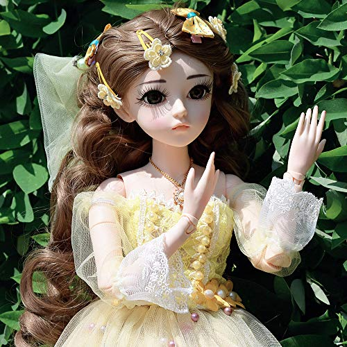 UCanaan BJD Doll, 1/3 SD Dolls 24 Inch 18 Ball Jointed Doll DIY Toys with Clothes Outfit Shoes Wig Hair Makeup, Best Gift for Girls - Sanse